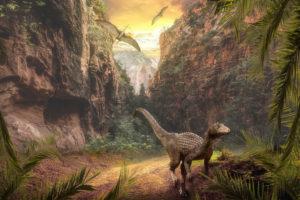 """Naukowcy prowadzący wykopaliska niedaleko Jinju wKorei Pd. natrafili naperfekcyjnie zachowane odciski skóry Minisauripusa. Nailustracji nienazwany dinozaur, wyobrażenie artysty (enriquelopezgarre / <a href=""""https://pixabay.com/pl/photos/krajobraz-g%C3%B3rskie-sky-chmury-3969074/"""">Pixabay</a>)"""